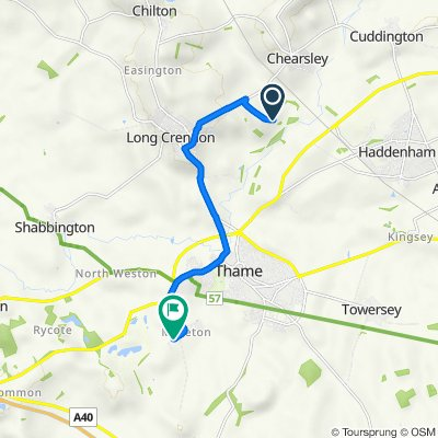 Route from Notley Mead, Chearsley Road, Aylesbury