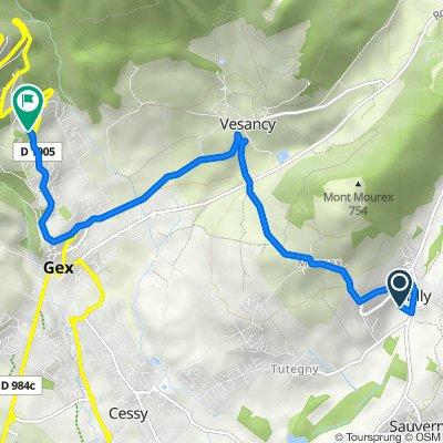 322 Route de Sauverny, Grilly to 334 Chemin du Bois de la Motte, Gex