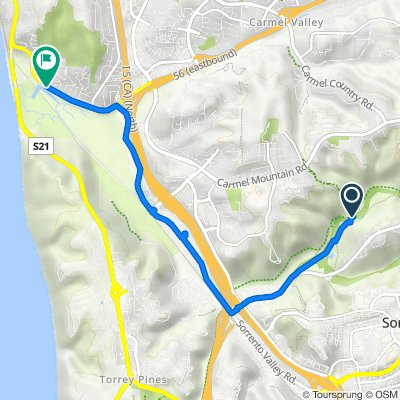 Route to 2206 Carmel Valley Rd, San Diego