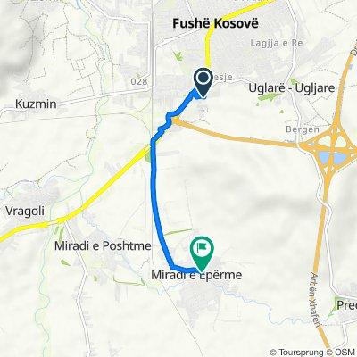 Route from Abedin Krasniqi 5, Fushë Kosova