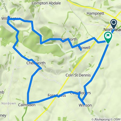 Route from West End, Northleach, Cheltenham