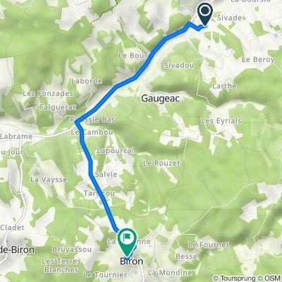 De 24 Tandou, Gaugeac à 12 Le Bourg, Biron