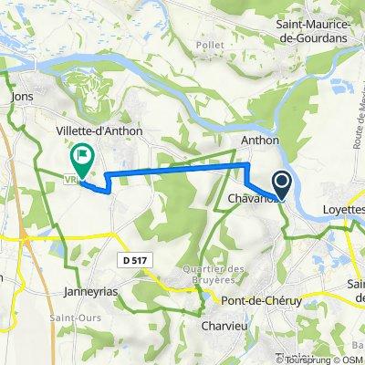 De Route de Lyon 16, Chavanoz à Lotissement les Bergeronnettes 79, Villette-d'Anthon