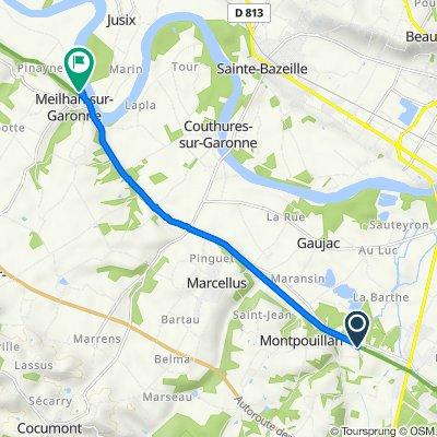 De D143 2194, Montpouillan à Camping Au Jardin - Base de Loisirs, Meilhan-sur-Garonne