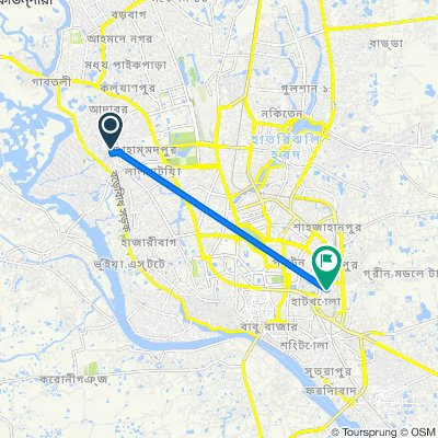 Road No. 4 155, Dhaka to Lane 1, Dhaka