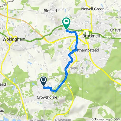 19 Elgar Ave, Crowthorne to Maxis, 1 Western Road, Bracknell