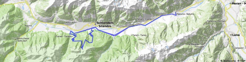 27-Naturns- Kastelbell- Latsch- Schlanders- Laas- Laasertal- Göflaner Marmorbruch- Göflaner Alm- Nörderberg- Göflan- Latsch- Kastelbell- Naturns