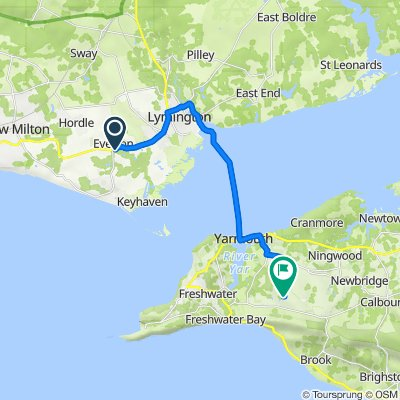 Route from 7 The Grange, Lymington