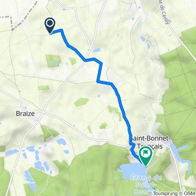 Route de la Goutte, Saint-Bonnet-Tronçais naar Sentier PMR du grillon, Saint-Bonnet-Tronçais