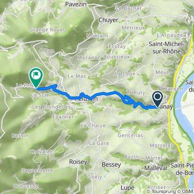 De Rue du Boudet 1, Chavanay à Route du Col de l'Oeillon 38, Pélussin
