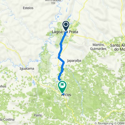 De Rua Raul Gomes Bernardes, 295–397, Lagoa da Prata a Rodovia MG-170, 58–386, Arcos
