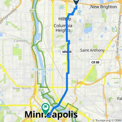 5286 Matterhorn Dr NE, Fridley to 73–95 S Seventh St, Minneapolis