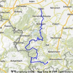 eiffel, dueren - heimbach - hirschrott - hellenthal - giescheid - ramscheid - udenbreth - schmidtheim