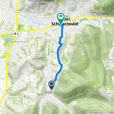 Sulzbergstraße 22, Lahr/Schwarzwald to Tiergartenstraße 19, Lahr/Schwarzwald