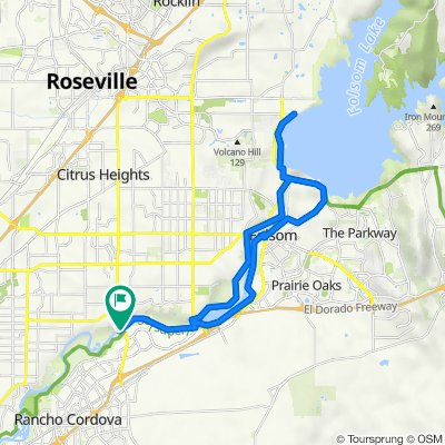 American River Bike Trail: Sunrise  Bridge to Folsom Lake; Johnny Cash Trail to Folsom to Start