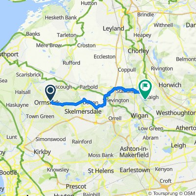 14 Greetby Hill, Ormskirk to Haigh Hall Hotel, School Lane, Wigan