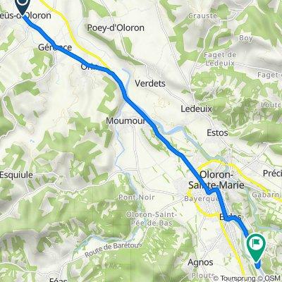 De Route de Josbaig 17, Geüs-d'Oloron à Route du Gave d'Aspé 2050, Oloron-Sainte-Marie