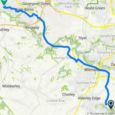 Route to 21 Appleton Road, Altrincham