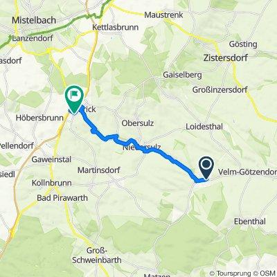 Sebastianigasse 6, Spannberg nach Brunnenweg 10–24, Schrick
