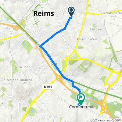 De 2A Rue Henri Barbusse, Reims à 9C Place de la République, Cormontreuil