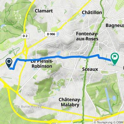 Zone Industrielle, Le Plessis-Robinson to 1 Rue de l'Yser, Sceaux