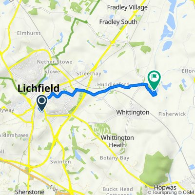 Route from 22 Shakespeare Ave, Lichfield
