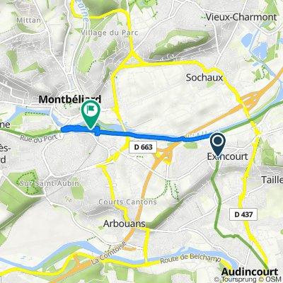 De Rue de la Poste, Exincourt à Chemin de Halage, Montbéliard