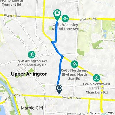 1620 Glenn Ave, Columbus to 1633 W Lane Ave, Upper Arlington