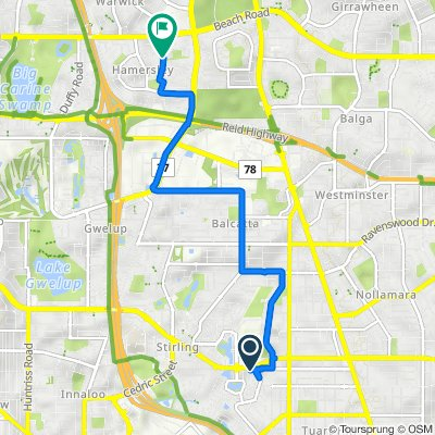 Route from 169 Hamilton Street, Stirling