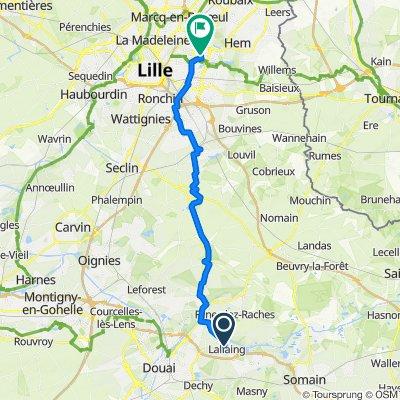 De 12 Rue Lambrecht, Lallaing à 5 Allée des Crocus, Villeneuve-d'Ascq