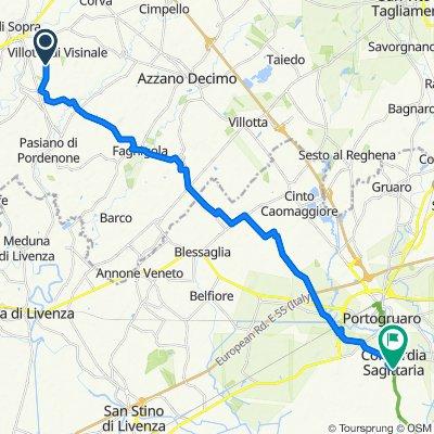 Da Via Fontane 11, Pasiano di Pordenone a Via Antonio Gramsci 34B, Concordia Sagittaria