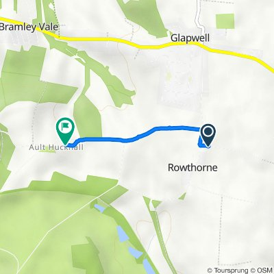 Dale Lane, Rowthorne Village, Glapwell, Chesterfield to The Old Manse, Ault Hucknall Lane, Chesterfield