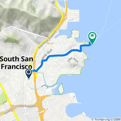 Route from 1404 San Mateo Ave, South San Francisco