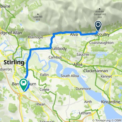 Route from 56 Jamieson Gardens, Tillicoultry