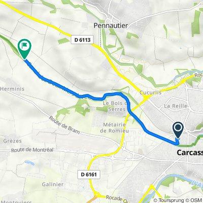 De 12 Rue Charles Cros, Carcassonne à Écluse d'Herminis, Carcassonne