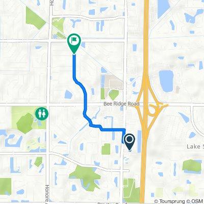 4381 Cattlemen Rd, Sarasota to 3201–3247 Woodmont Dr, Sarasota