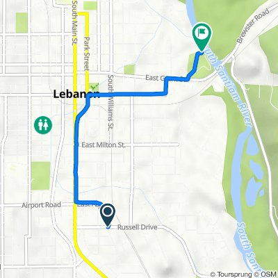 Route from 310 Russell Dr, Lebanon