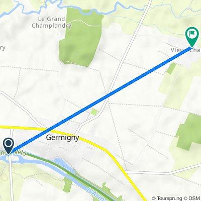 De Route de l'Aérodrome, Germigny à 25 Grande Rue, Germigny