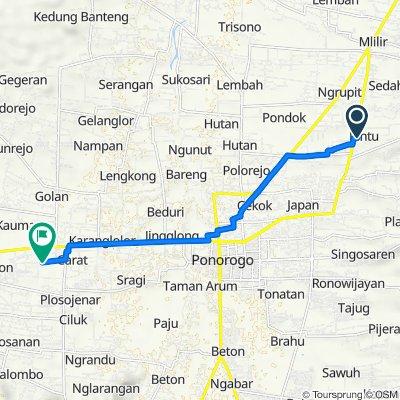 Jalan Serayu no.30, Kecamatan Jenangan to Jalan Bantarangin No.46, Kauman