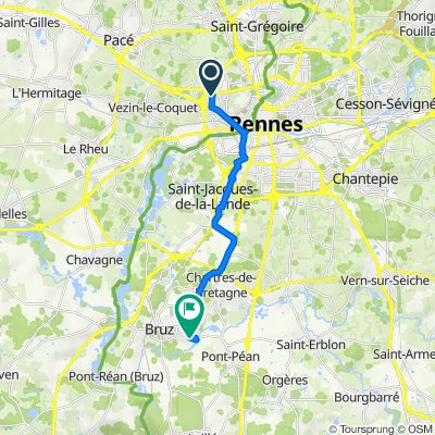 De 22–30 Rue de Picardie, Rennes à Rond-Point de Pont-Péan, Bruz