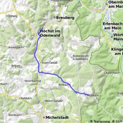 Strecke Volvo Höchst - Vielbrunn