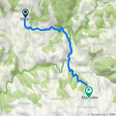 Itinéraire vers 12–14 Place de l'Église, Marcolès