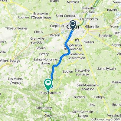 De Cours du Général Kœnig, Caen à 1 Place de la Gare, Thury-Harcourt