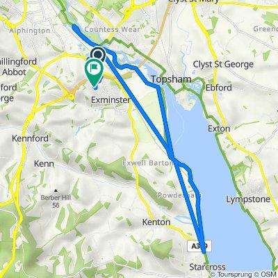 Sannerville Way, Exminster, Exeter to 1 Dunster Walk, Exeter