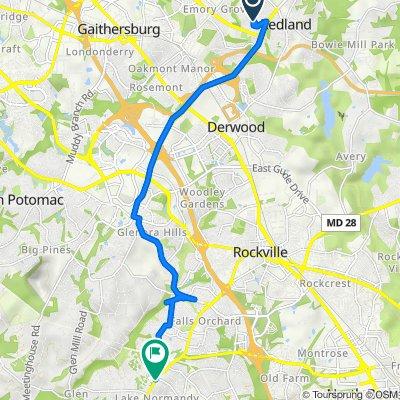 17616 Wheat Fall Dr, Derwood to 11854–11876 Falls Rd, Potomac