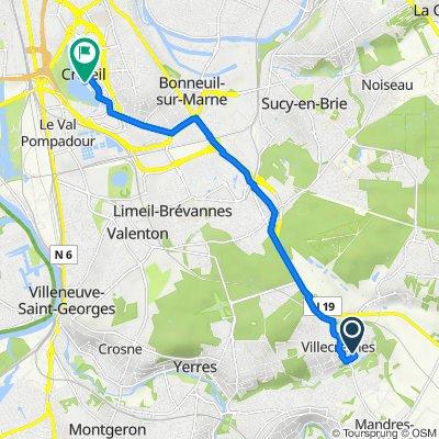 De 2 Place des Peupliers, Villecresnes à 3 Allée Maurice d'Ocagne, Créteil