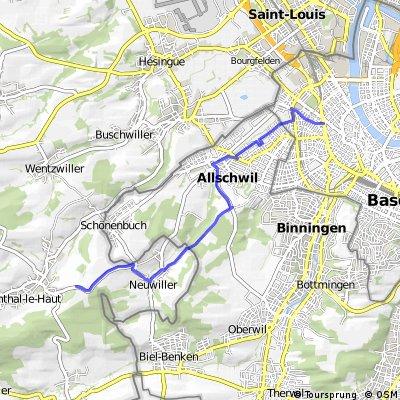 Hegenheim - Hagenthal-le-Bal - Neuwiller -   Bâle