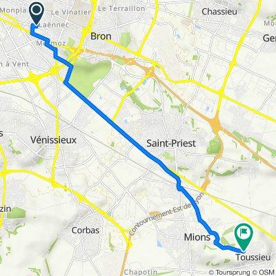 De 9Bis Rue du Transvaal, Lyon à 36 Route de Mions, Toussieu