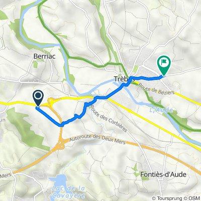 De Sautès le Bas, Carcassonne à Route de Rustiques, Trèbes