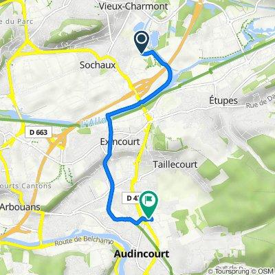 De 3–5 Promenade de la Rêverie, Sochaux à Rue Raoul Follereau, Audincourt